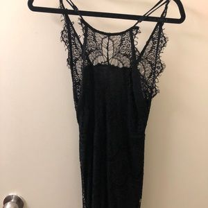 Free people lace bodycon slip dress in black